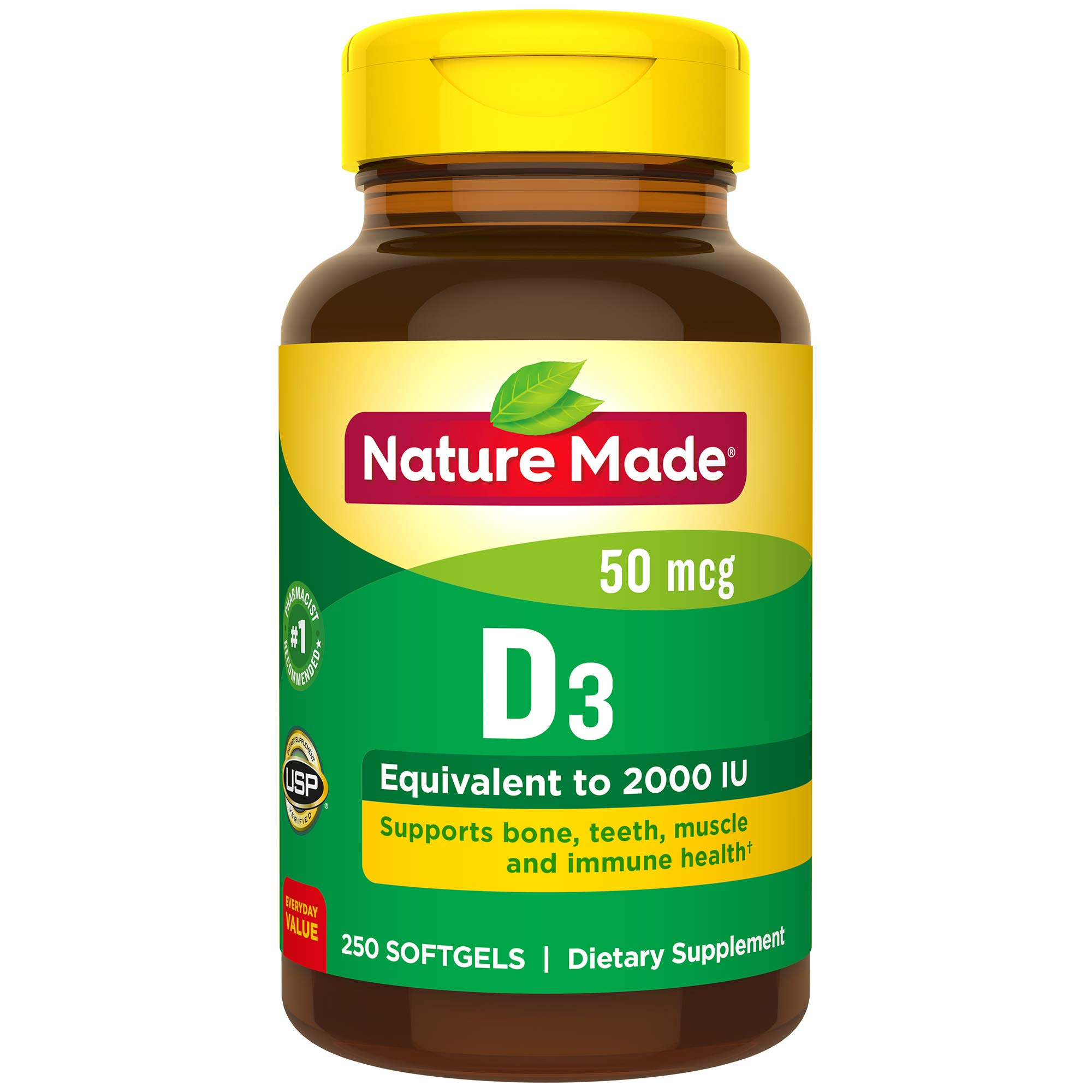 Nature Made Vitamin D 50 mcg (2000 IU) Softgels, 250 Count Everyday Value Size for Bone Health (Packaging May Vary) by Nature Made
