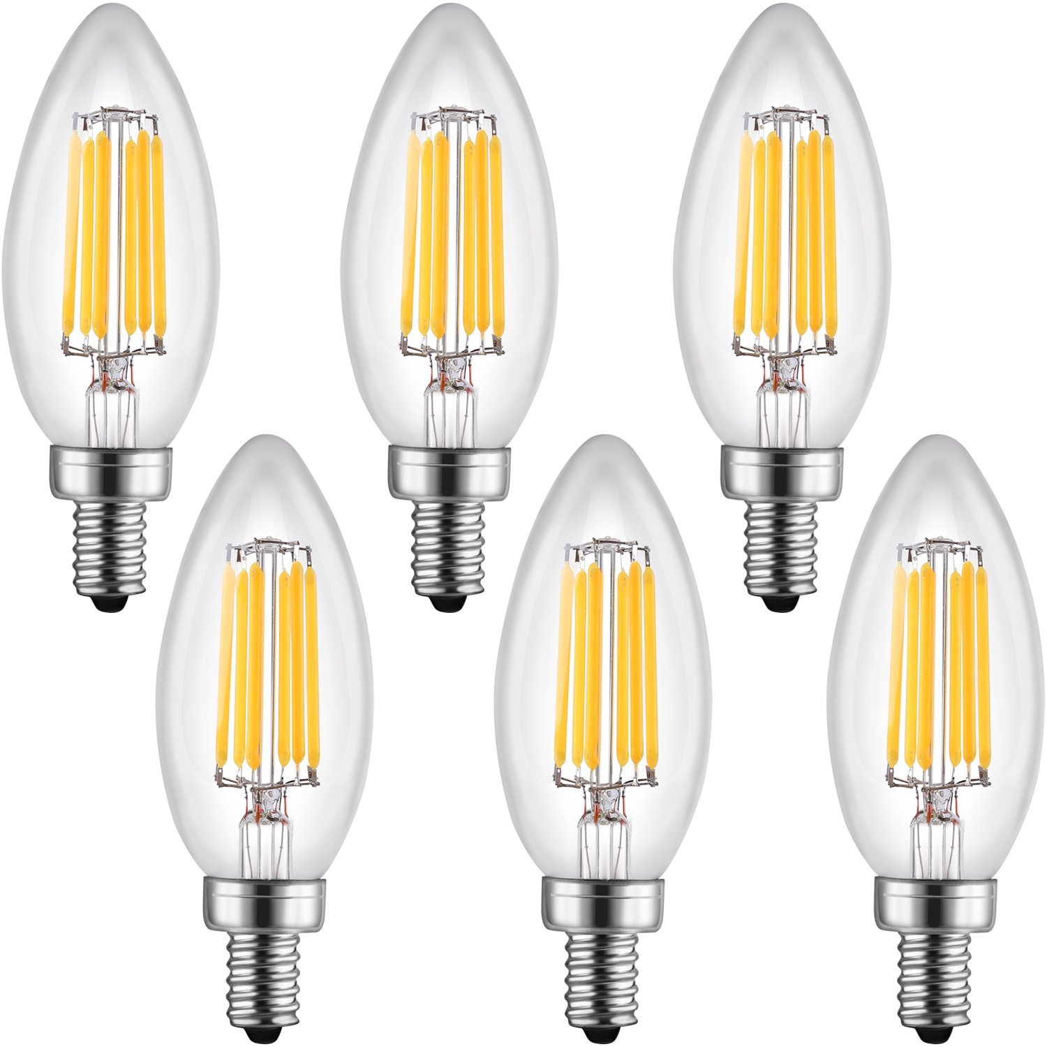 Leto b11 6w led light bulbs candelabra base dimmable ul listed 60w leto b11 6w led light bulbs candelabra base dimmable ul listed 60w equivalent light bulbs equivalent led chandelier bulb e12 candelabra base arubaitofo Images