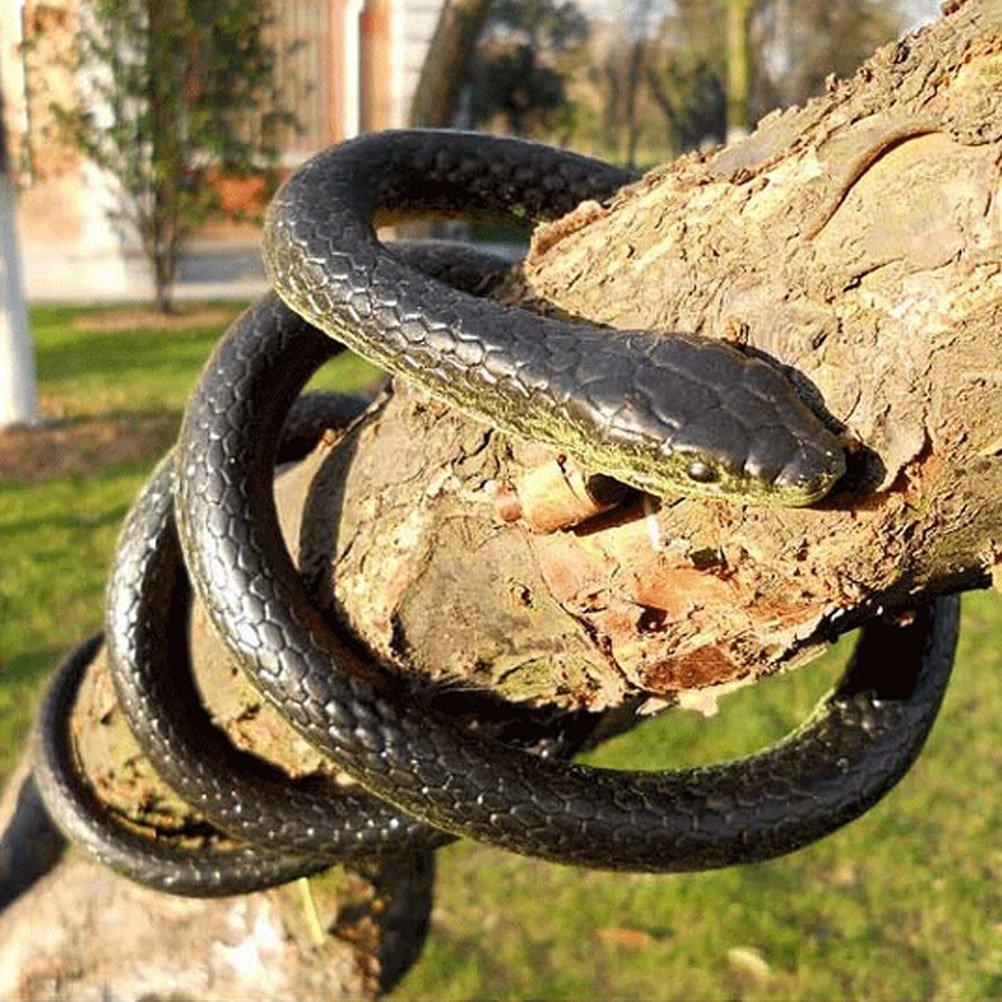 Odowalker Lifelike Rubber Black Fake Snake Looks Like Real Gag Gift Prank Joke Toy 52 Inch for Halloween Party,April Fool's Day,Scare Friends,Garden Decor