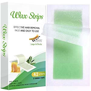 42 Body Wax Strips - Wax Hair Removal For Women - All Skin Types - At Home Waxing Kit with 42 Waxing Strips(21 Double Sided Strips) + 4 Calming Oil Wipes
