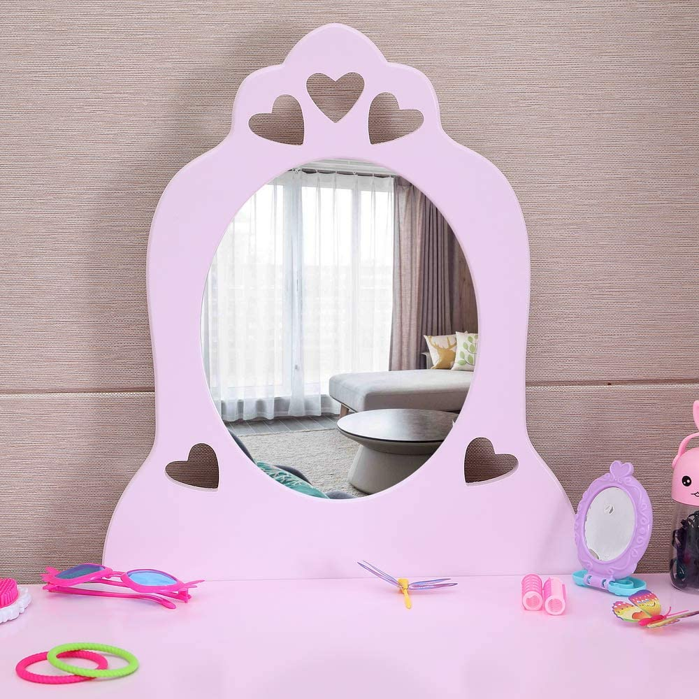 Kids Vanity Set Little Girls Makeup Table and Stool Set Wooden Dresser Princess Dressing Table Set Pull-Out Drawer and Cushioned Stool Pretend Beauty Play Set with Real Mirror Pink