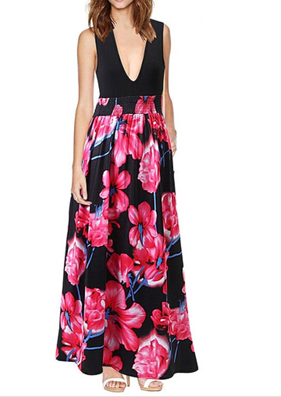 OYMMENEY Damen Kleid Sommerkleid Lang Maxikleid Blumen shirt Tunika ...