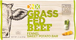 DNX Bar-Grass Fed Beef Whole Food Protein Bar Whole30 Approved - Fennel Sweet Potato - Organic Fruits and Veggies, Gluten Free, Non-GMO, No Dairy, Paleo Meat Bar with a Truly Epic Taste (8 Bars)