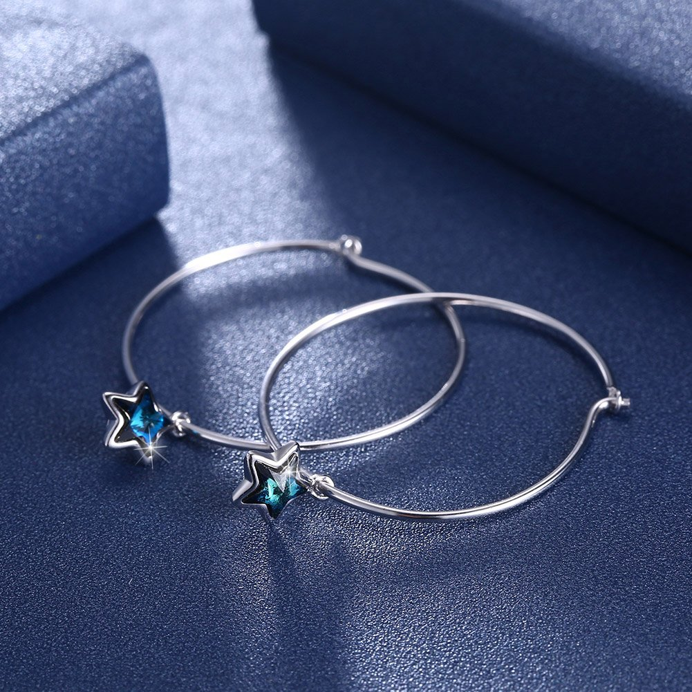 inalis Hoop Earrings Crystals from Swarovski Hanging Star 925 Sterling Silver Earrings for Women Girl Elegant Hypoallergenic Ear Jewelry Gifts