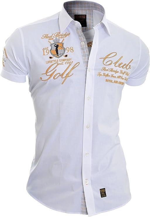 Redbridge Hombre Camisa Bordada Manga Corta Collar clásico Adornos de Oro: Amazon.es: Ropa y accesorios