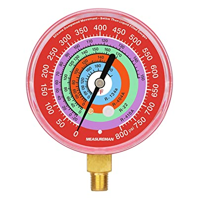 "Measureman Refrigeration Pressure Gauge, 3-1/8"" Dial, Red Dial, 1/8\"" NPT Lower Mount, 0-800psi, R-134a, R-404A, R-22, R-410A, Degree F, Adjustable Pointer: Automotive [5Bkhe1504129]"