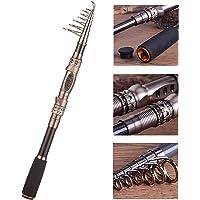 PLUSINNO® Canne à pêche Lumière Teleskoprute Portable en Fibre de Carbone, pour l'eau salée et d'eau Douce