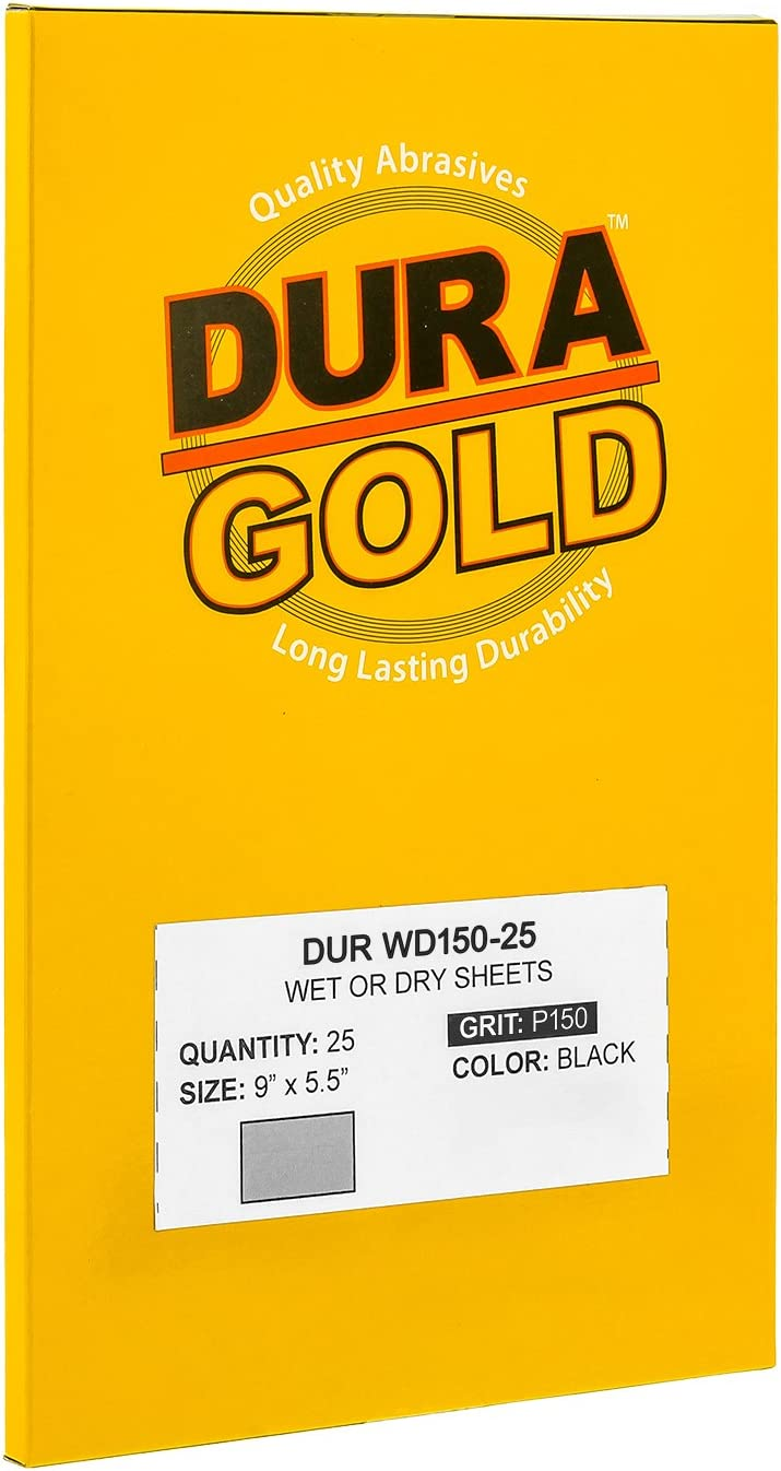 Box of 25 Sandpaper Finishing Sheets Color Sanding and Polishing for Automotive and Woodworking Wet or Dry Professional Cut to 5-1//2 x 9 Sheets Dura-Gold 2000 Grit Premium