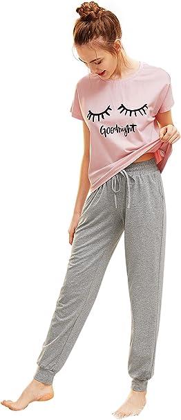 DIDK - Pijama para mujer con eslogan, camiseta de manga corta y pantalón largo: Amazon.es: Ropa y accesorios