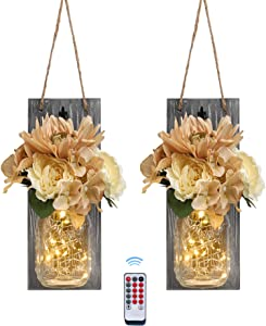 Besuerte Mason Jar Wall Sconces with Remote Farmhouse Wood Wall Art Decorfor Home Living Room Bedroom Decorations with Rose Bouquet Flowers and LED Fairy Lights,Set of 2(Medium, Gray)