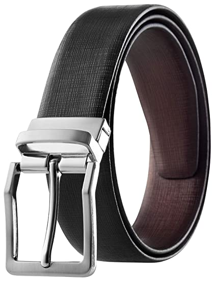 Mens Reversible Classic Dress Belt Italian Top Grain Leather Black