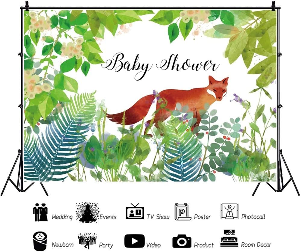 YEELE Safari Theme Baby Shower Backdrop 10x8ft Wild Fox in Tropical Jungle Grass Photography Background Newborn Infant Artistic Portrait Cake Smash Decoration Photo Booth Props Wallpaper