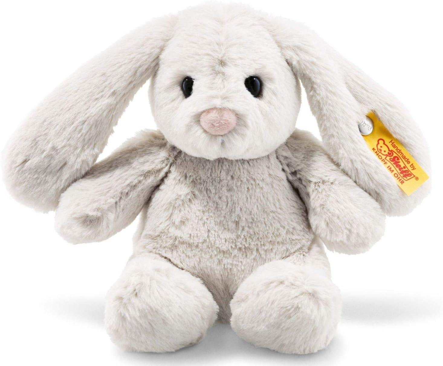 Steiff Hoppie 080463 - Conejo de Peluche con Orejas Plegables, 18 cm, Suave Peluche para niños, móvil y Lavable, Color Gris Claro