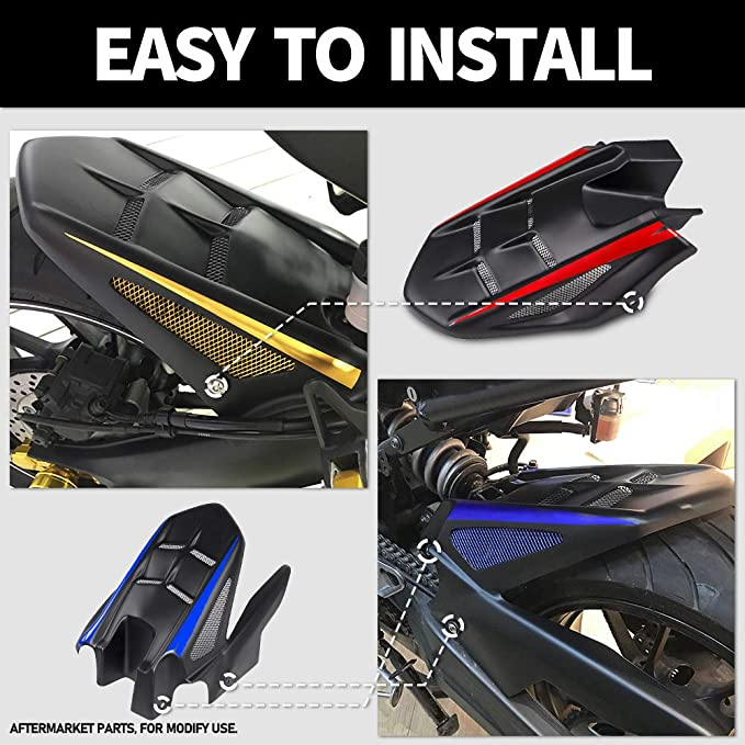 White FATExpress FZ-07 MT-07 Accessories Motorcycle ABS Plastic Rear Mudguard Fender Tire Hugger for 13-19 Yamaha FZ07 MT07 MT FZ 07 2013 2014 2015 2016 2017 2018 2019