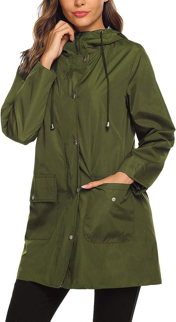 DHLP XL-6XL Rain Jacket Women Waterproof with Hood Lightweight Active Outdoor Raincoat Windbreaker