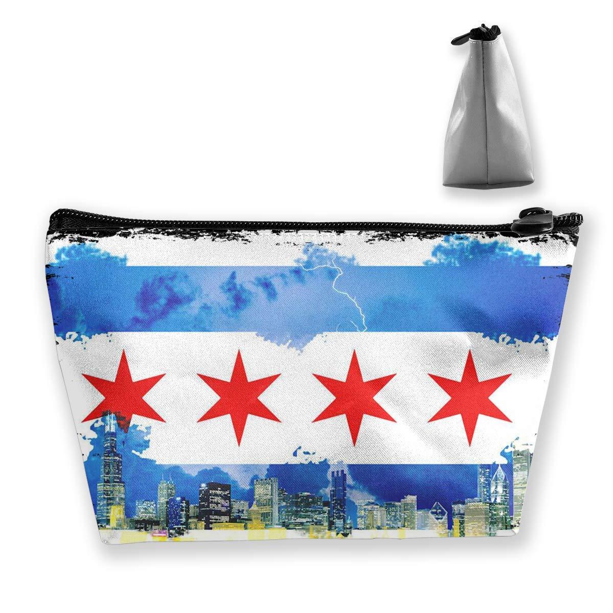 Zapwalls Calcomanías Acuarela Bandera de Chicago Horizonte de la pared Gráficos de viaje Bolsas de cosméticos Estuche de lápices Bolso multifunción