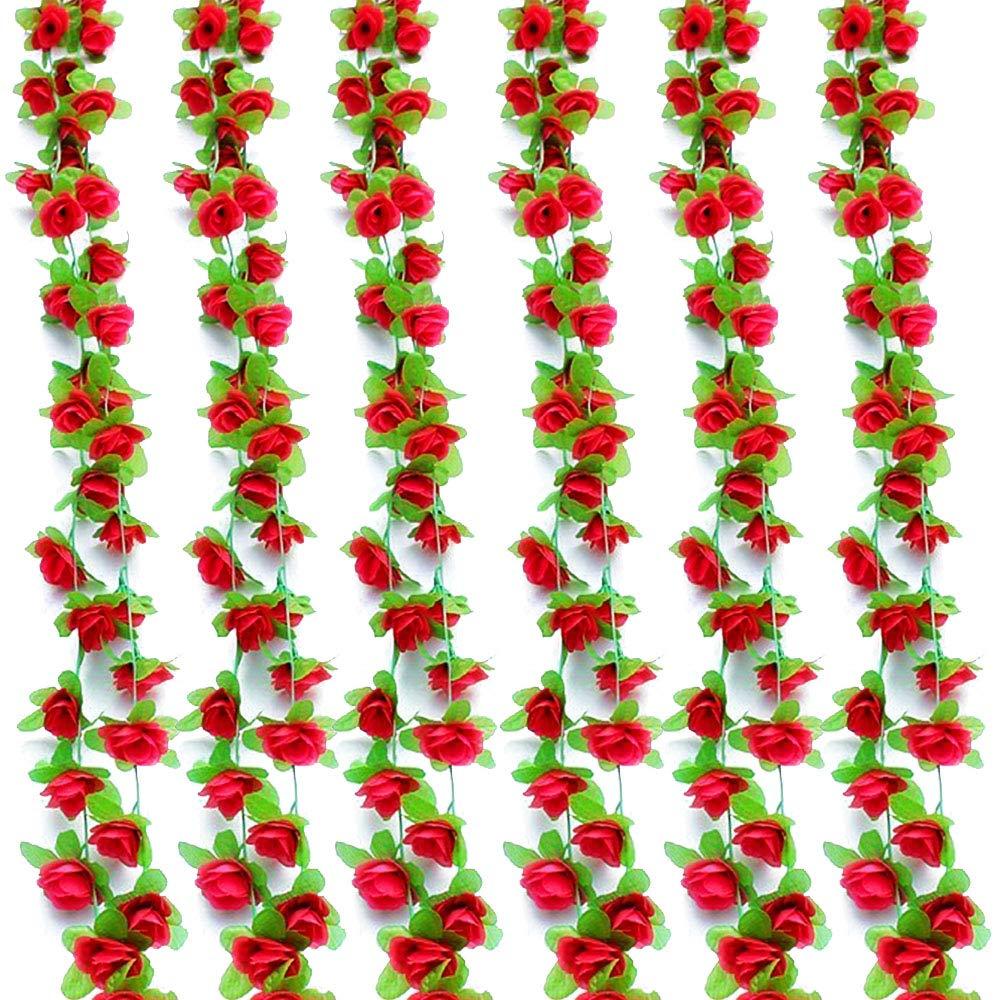 Musdoney 6パック 43.3フィート フェイクローズ つる 花 植物 造花 吊り下げ ローズ アイビー ホーム ホテル オフィス ウェディング パーティー ガーデン クラフト アート デコレーション レッド B07QG3J29D レッド