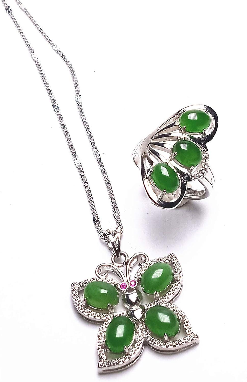 yigedan 2 Piezas S925 Plata de Ley Verde Natural Jade Gemstone Mariposa Colgante Collar Anillos