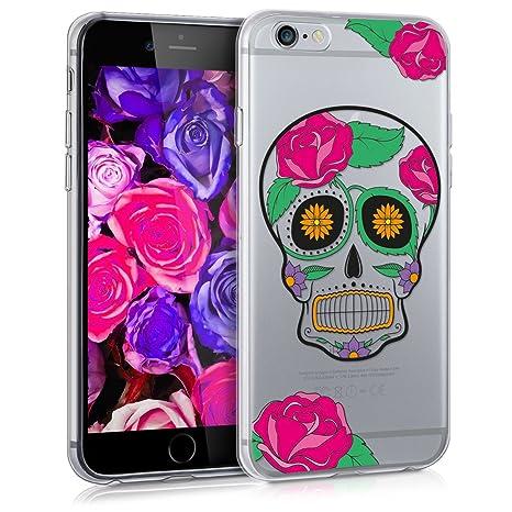 kwmobile Funda para Apple iPhone 6 / 6S - Carcasa de [TPU] para móvil y diseño de Calavera Mexicana Transparente