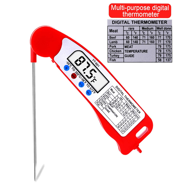Termómetro para alimentos, termómetro para carne, termómetro de cocina con pantalla LCD digital, sonda larga plegable para barbacoa, fumadores, cocina, ...
