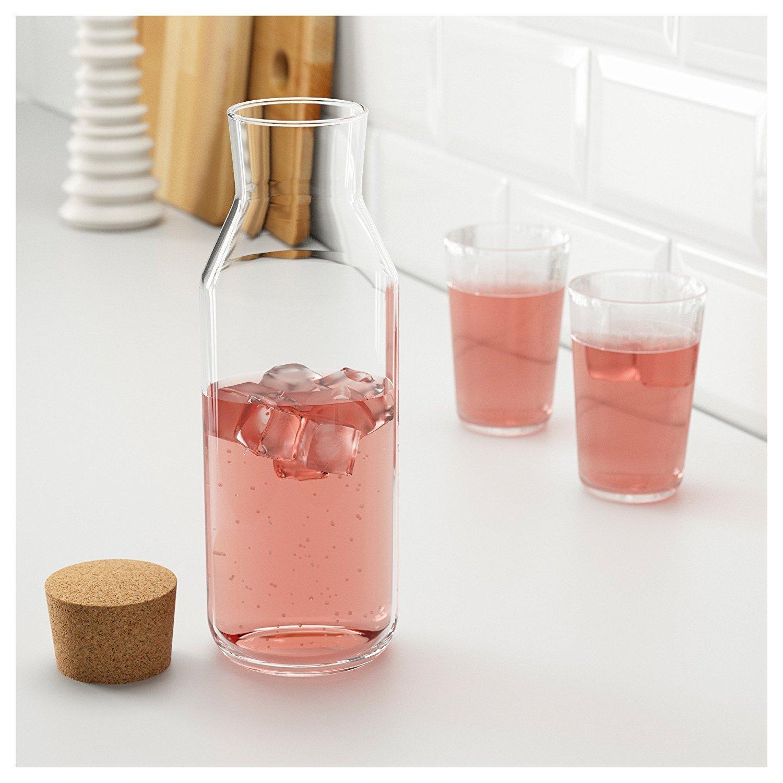 IKEA 365 + - botella con tapón de vidrio transparente/corcho: Amazon.es: Hogar
