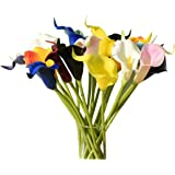 """Mandy's 20pcs Multicolor Artificial Calla Lily Flowers 13.4"""" for Home Kitchen & Wedding Decorations"""