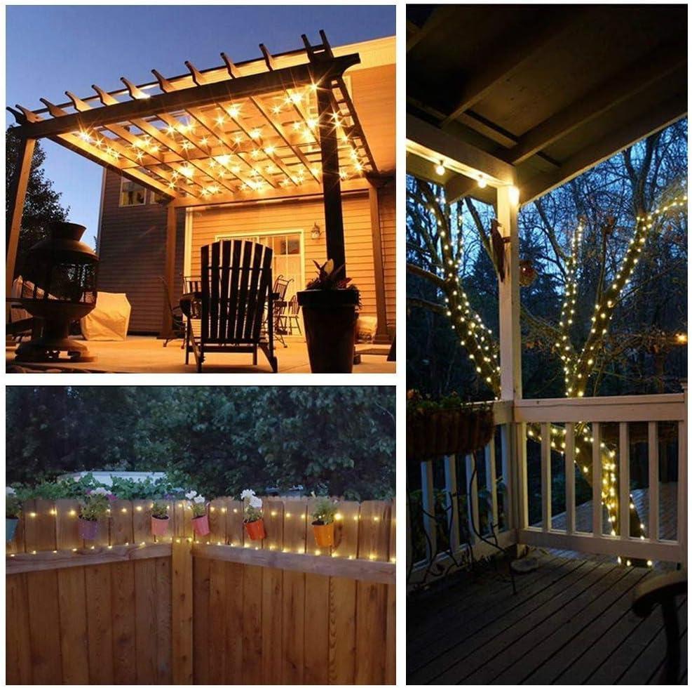 Luces Cadena con energía Solar,100 Luces Alambre Cobre LED,Luces Cadena estrelladas,luz decoración Solar Impermeable Interior/Exterior: Amazon.es: Hogar
