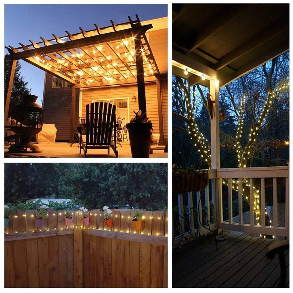 Luces Cadena con energía Solar,100 Luces Alambre Cobre LED,Luces ...