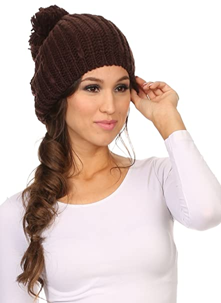f6f35c4fa35 Sakkas CHSS1545 - Lax Wide Unisex Cable Knit Large Pom Pom Bobble Beanie  Hat Cap - Brown - OS at Amazon Women s Clothing store