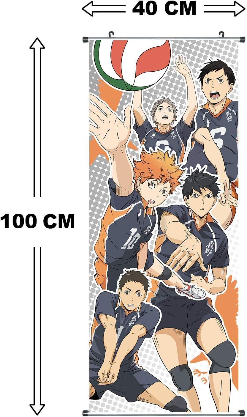 Poster 100x40cm Kakemono aus Stoff Motiv: Karasuno Volleyballteam CoolChange Gro/ßes Haikyu !! Rollbild