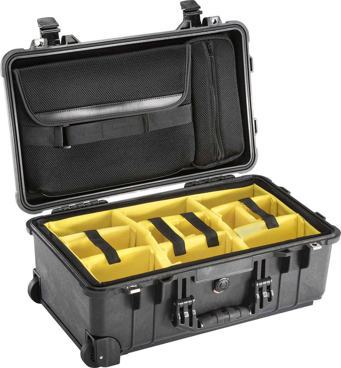 ブラックPelican 1510sc。は、パッド入りディバイダー& Lidポーチ&無料TSAロック   B01M7ZKJ6P