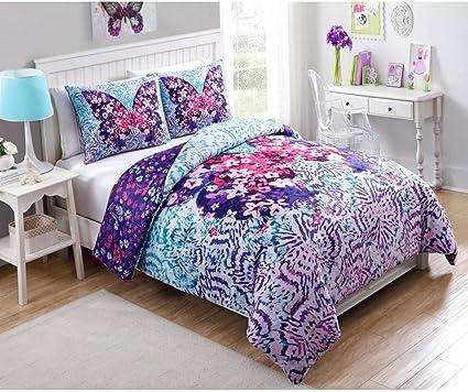 3 Pieces Fille Rose Blanc Fly Gratuit Papillon Doudou Ensemble Complet Couleur Violette Magique Motifs Papillons