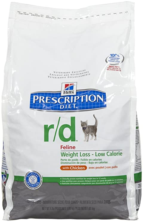 Amazon.com : Hills Prescription Diet r/d Feline Weight Loss - Low Calorie Chicken Formula - 4lb : Dry Pet Food : Pet Supplies