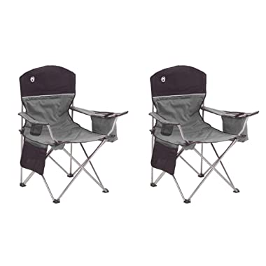 Coleman Oversized Black Camping Lawn Chairs + Cooler, 2-Pack | 2000020256