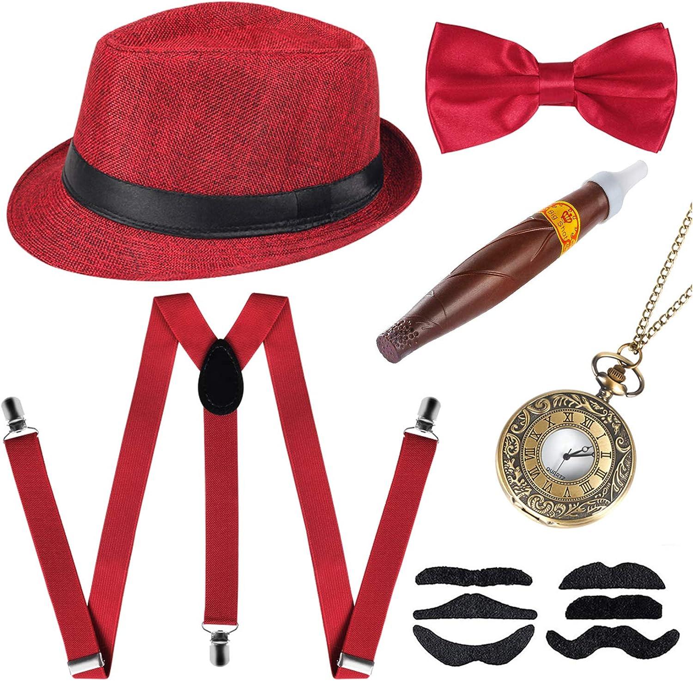 1920s Mens Gatsby Gangster Costume Accessories Set Manhattan Mens Costume Panama Hat Suspender Bow Tie Retro Set
