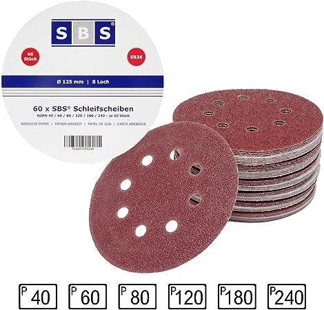 10x Ø125mm Exzenter Schleifpapier Schleifscheiben Schleifpad 8 Loch Körn