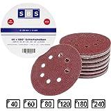 SBS - 60 dischi abrasivi a 8 fori, per levigatrice eccentrica, diametro: 125 mm, grana: 10 dischi da 40, 10 dischi da 60, 10 dischi da 80, 10 dischi da 120, 10 dischi da 180, 10 dischi da 140