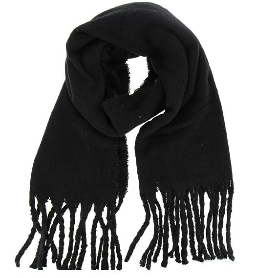 FASHIONGEN - Echarpe femme oversize laine, frange frisé SARAH - Noir  Amazon .fr  Vêtements et accessoires 4dc942191c4
