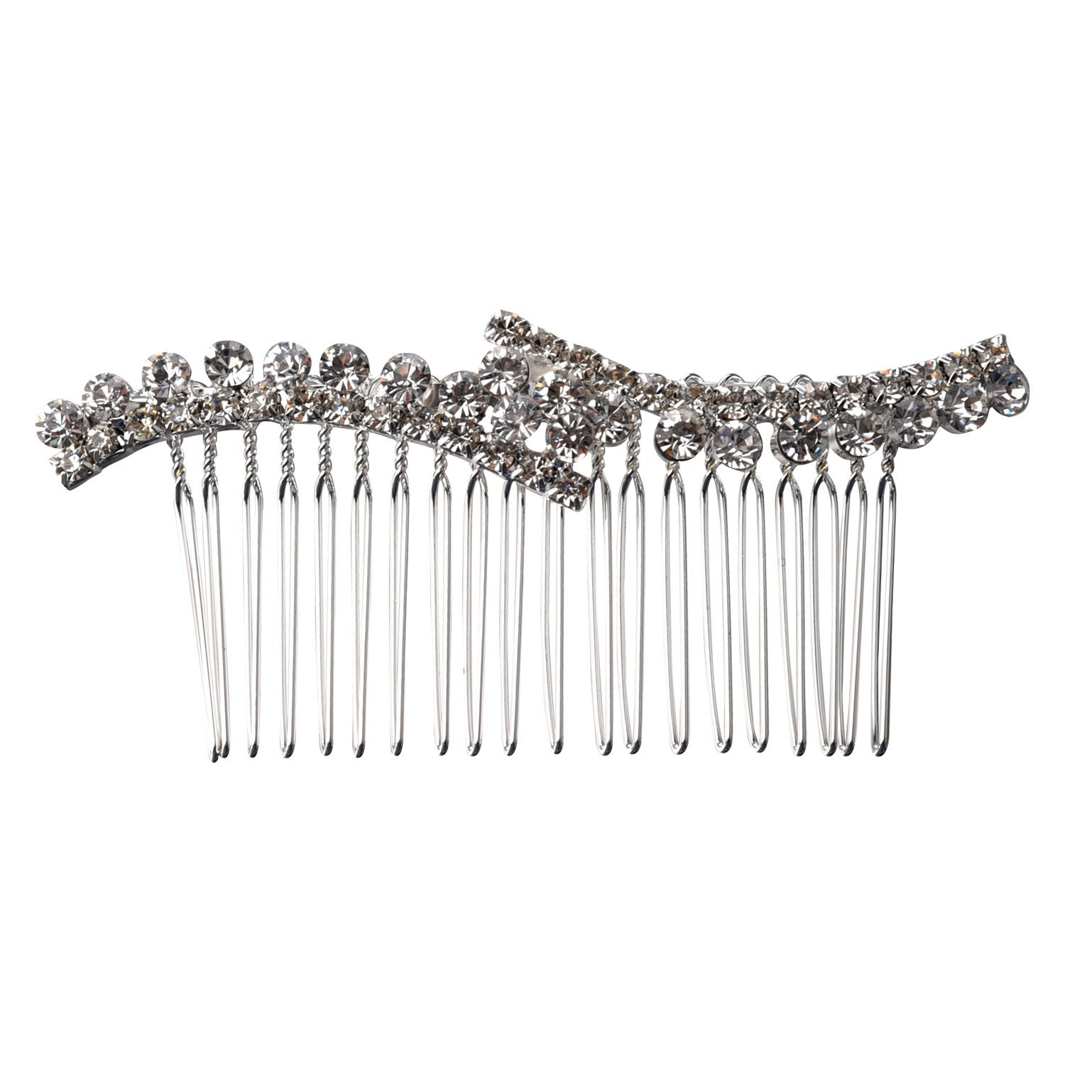 SODIAL Silver Plated Rhinestone Crystal Bridal Tiara Hair Slide Comb Pin Women Fashion