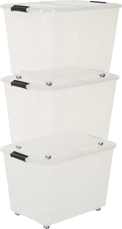 IRIS 101.288,0 Set de 3 Cajas con Tiendas y Ruedas, 60 L, Sistema de Orden, la Cama, apilables, Caja de plástico, TBRH-60, Transparente