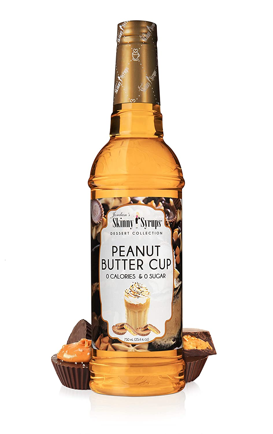Jordan's Skinny Syrups, Sugar Free Peaunt Butter Cup Syrup, Healthy Flavors with 0 Calories, 0 Sugar, 0 Carbs, 25.4 Fl Oz Bottle