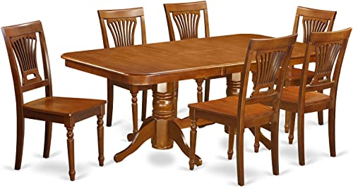 NAPL7-SBR-W 7 Pc Dining room set for 6 Table and 6 Chairs for Dining