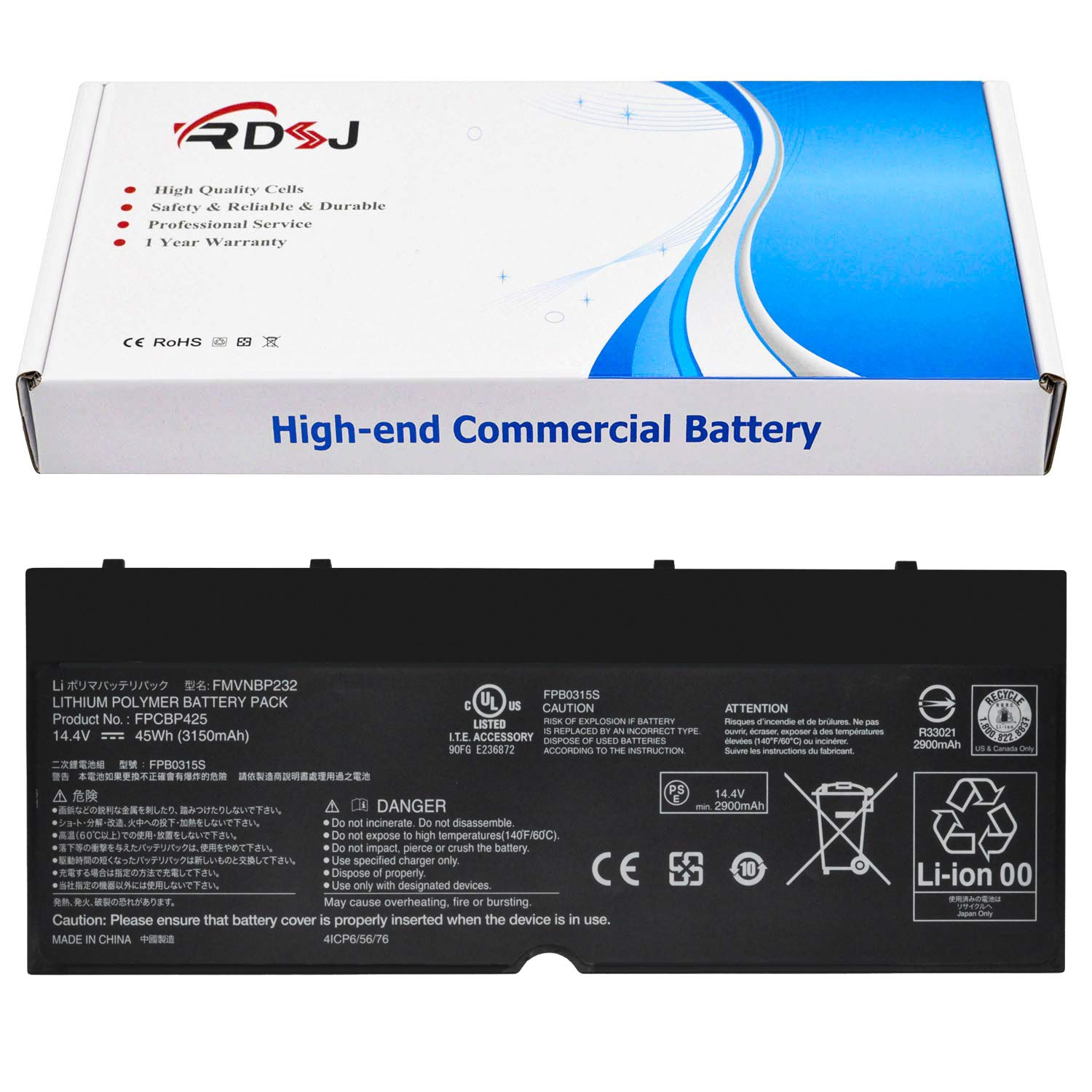 FPCBP425 FMVNBP232 Laptop Battery Compatible Fujitsu Lifebook U745 T935 T904U Series 14.4V 45Wh