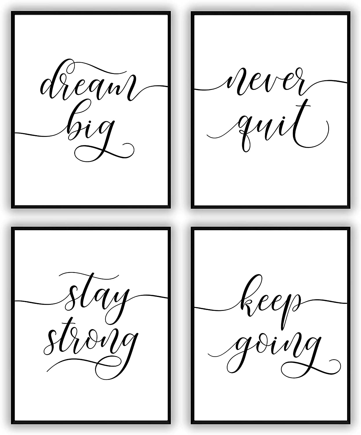 Motivational Wall Art, Inspirational Wall Art Decor For Office bedroom and living room, Positive Quote & Saying Office Decor - Black and White Picture Wall Poster Prints (8X10 Set of 4 Unframed)