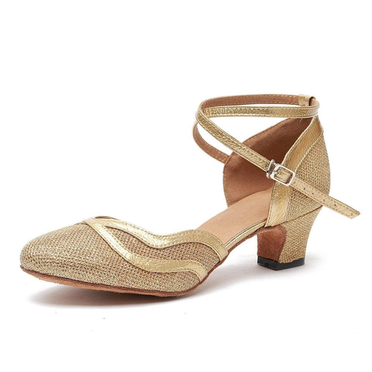 Willsego Frauen Glitter Ballroom Latin Tanzschuhe Party Hochzeit Heels (Farbe   Gold-5cm Heel Größe   4 UK)