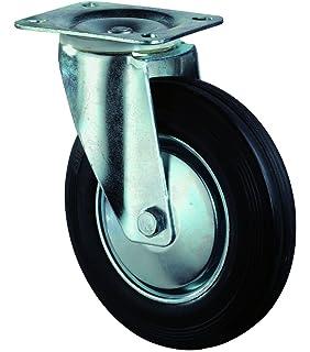 /Ø 125 mm Gummirad blaugrau BS Rollen C101.A80.125 Schwere Apparaterolle R/ückenloch f/ür harte B/öden Lenkrolle