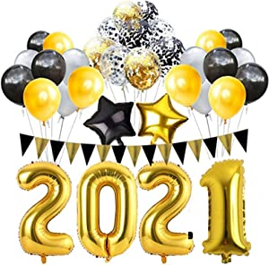 New Year 2021 Party Supplies 2021 New Year Eve Party Decorations Kit 32 Inches Large 2021 Balloons Gold Grey Black Balloons Sets for 2021 Graduation Party Supplies Decor