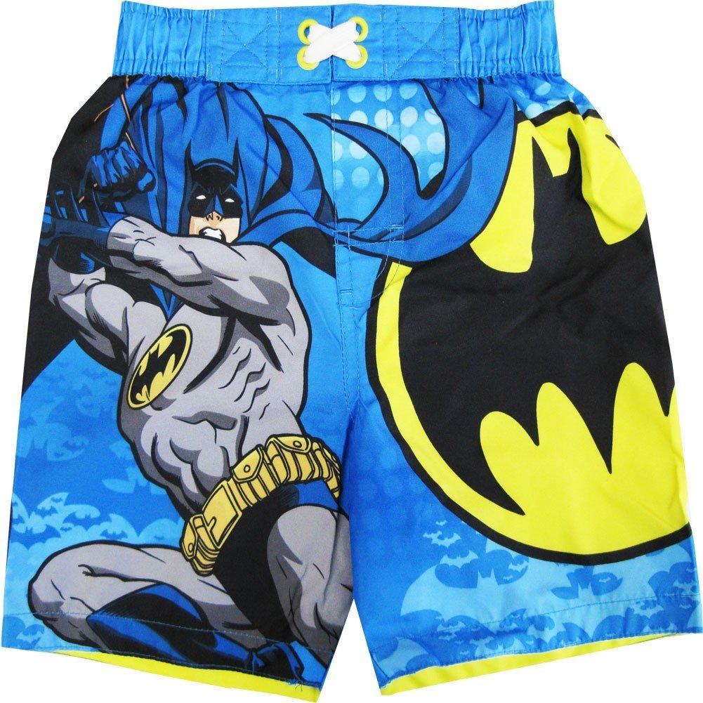 DC Comics Batman Little Toddler Boys Sky Blue Cartoon Character Swimwear Shorts 2-4T