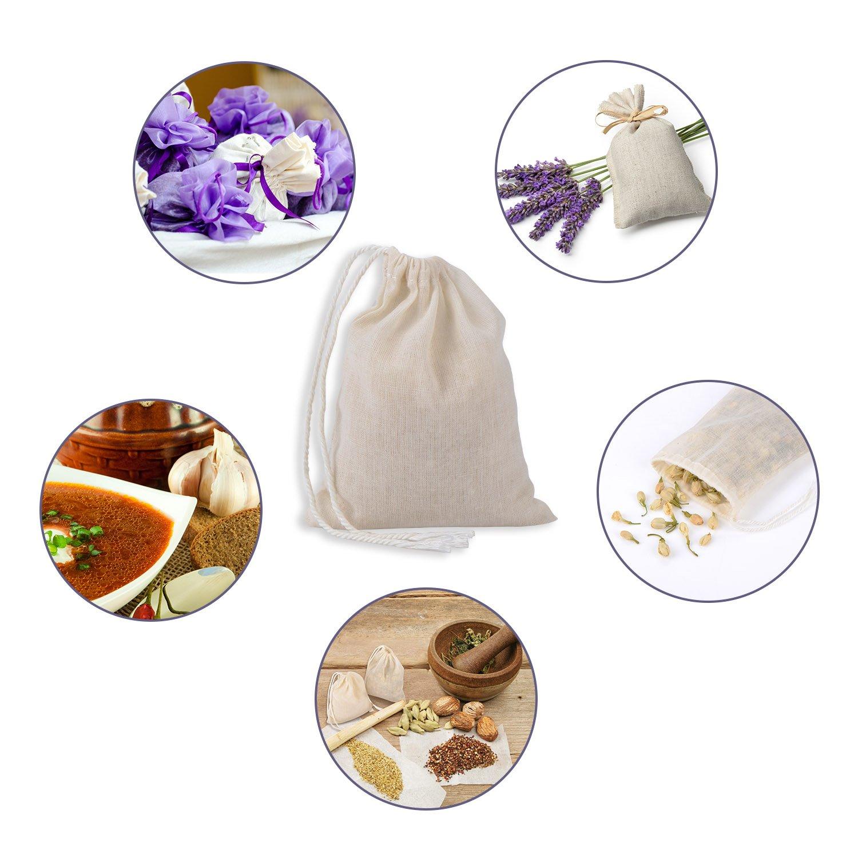 Pangda 100 Pieces Drawstring Cotton Bags Muslin Bags (4 x 3 Inches)