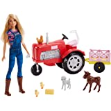​Barbie Tractor Playset with Wagon, Animals and...